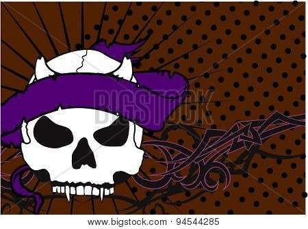 skull ribbon tribal tattoo background