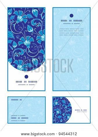 Vector dark blue turkish floral vertical frame pattern invitation greeting, RSVP and thank you cards