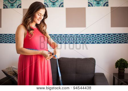 Pregnant Woman Measuring Waist