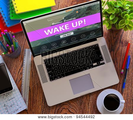 Wake Up. Online Working Concept.