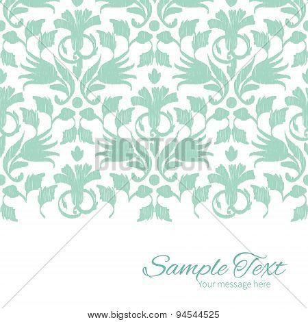 Vector abstract green ikat horizontal border card template