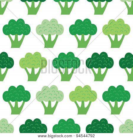 Vector Fun Broccoli Seamless Pattern