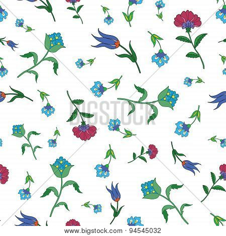 Vector Vintage Scattered Field Flowers Seamless Pattern
