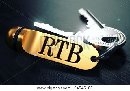 RTB - Bunch of Keys with Text on Golden Keychain.