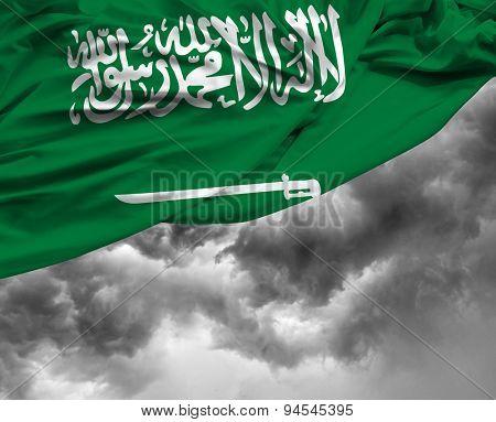 Saudi Arabia waving flag on a bad day