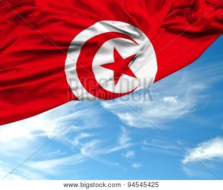 Tunisia waving flag on a beautiful day