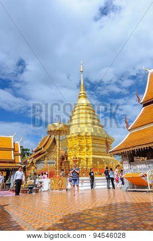 Chiang Mai, Thailand-june 9 : Many Tourists Visit Stupa Of Wat Phra That Doi Suthep , 2015, Chiang M