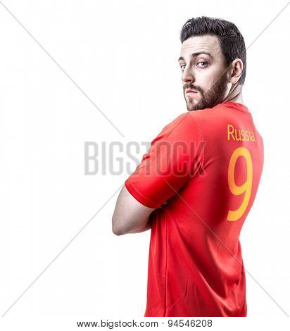 Russian soccer player on white background