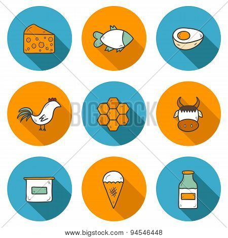 Set of hand drawn icons with products containing animal protein