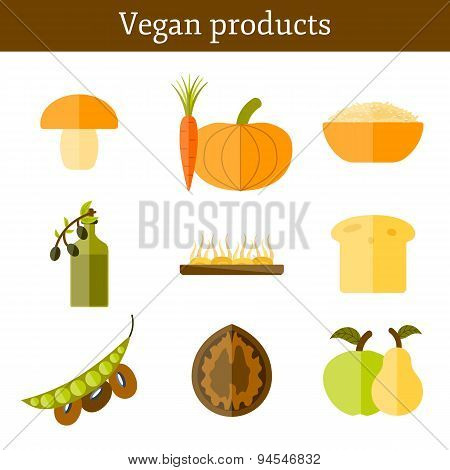 Set of modern icons in flat style on vegan food theme