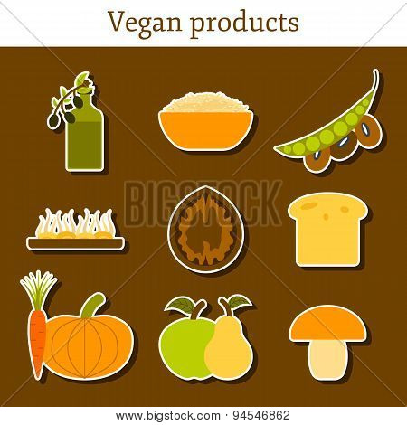 Set of modern stickers in flat style on vegan food theme