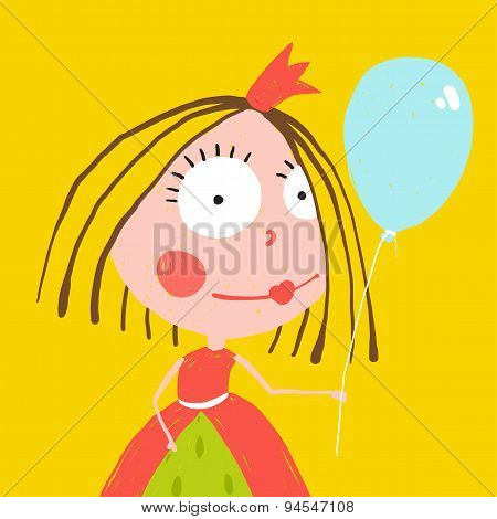 Girl Princess with Balloon and Crown in Beautiful Dress Design