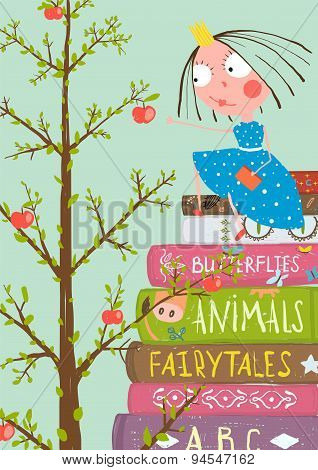 Curious Little Girl with Many Books and Apple Tree