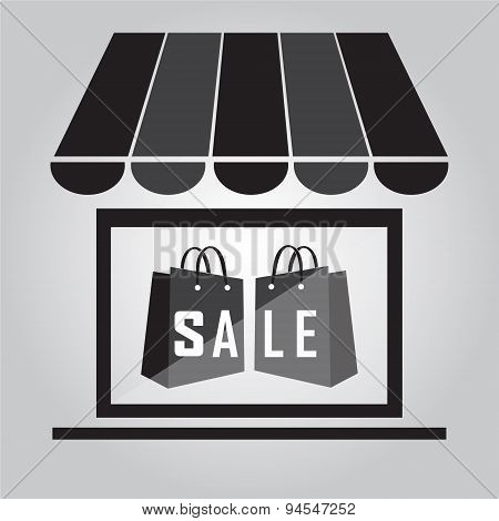 Shop Building With Shopping Bag Illustration