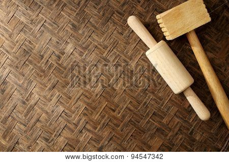 Texture Of Natural Bamboo Weave  Rolling Pin Hammer