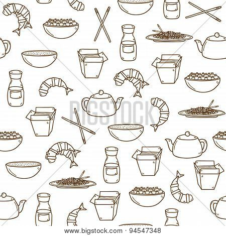 Seamless modern background with hand drawn cartoon objects on chinese food theme: rice, teapot, chinese pasta, soy sause, soup, chinese sticks, chinese dumpling, shrimp. Vector ethnic chinese cuisine concept. You can use it for your site, restaurant menu