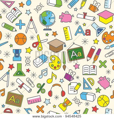Colorful Seamless Pattern Background Of School And Education Icons