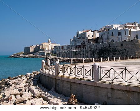 Old Seaside Town Of Vieste In Puglia, Italy
