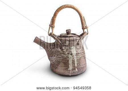 brown ceramic  teapot