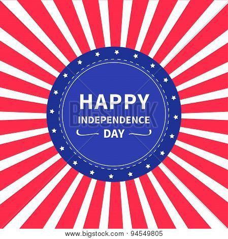 Round Label Tag Icon Star And Strip Sunburst Background Happy Independence Day United States Of Amer