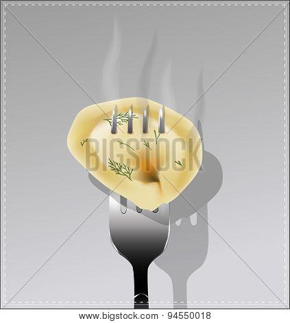 Delicious Dumpling On A Fork. Vector Illustration.