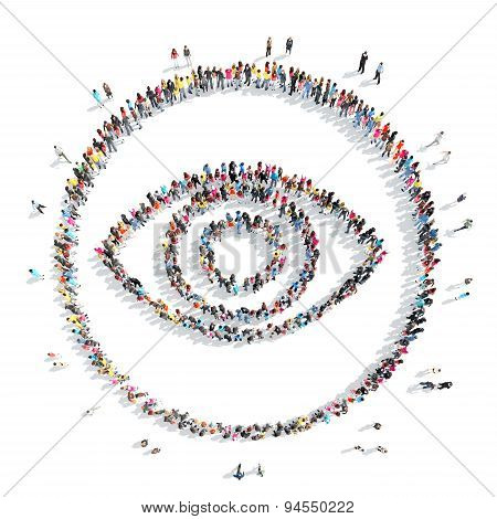 people in the shape of  eye.