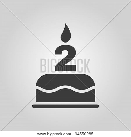 The Birthday Cake With Candles In The Form Of Number 2 Icon. Birthday Symbol. Flat