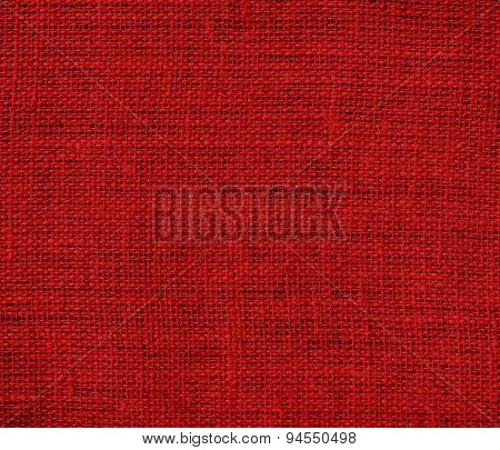 Dark candy apple red burlap texture background