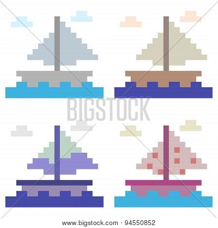 illustration pixel art boat sail