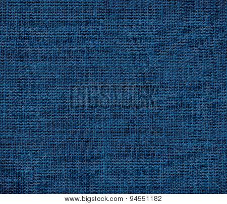 Dark imperial blue burlap texture background