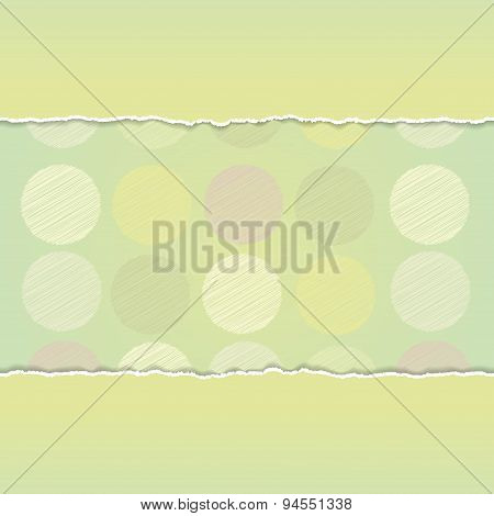Vintage card design Polka dot background,  scribble dot on green background. Vector