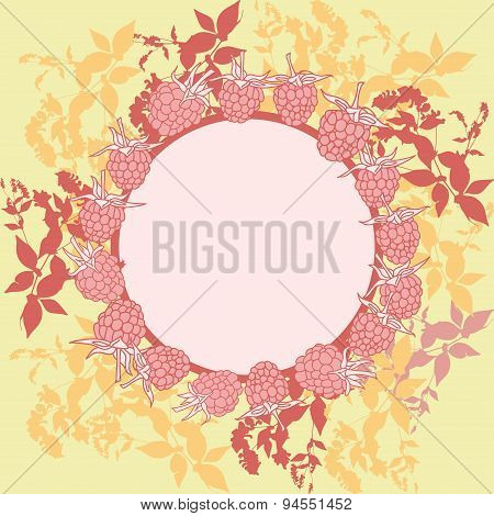 wreath with leaves. Round banner for text. raspberry on orange background. Sketch, hand-drawn. Vecto