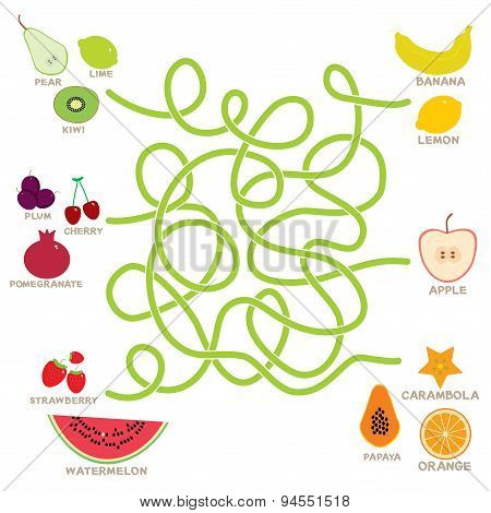 fruit  labyrinth game for Preschool Children. Vector