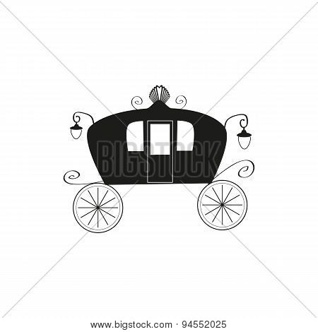The black silhouette of a vintage carriage on an isolated background