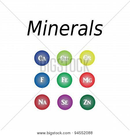Icons minerals. Vector illustration on isolated  background. Minerals with bright color glossy balls