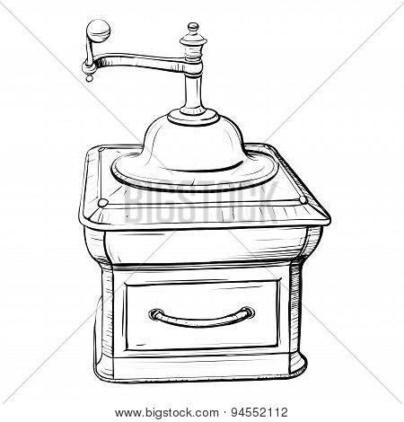 Vector Illustration Of Retro Coffee Grinder In The Thumbnail Style