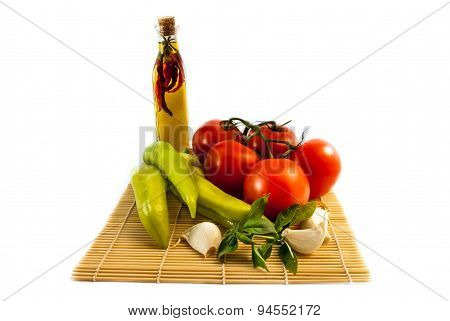 Vegetables With Ilive Oil Isolated On White Background