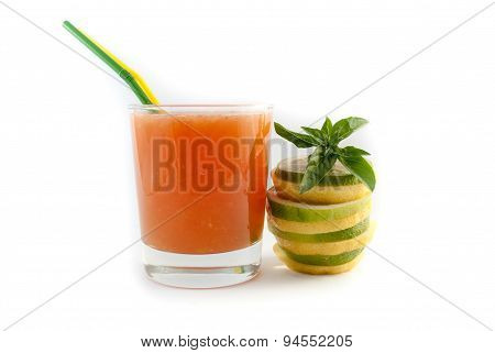 Juice In The Glass With Lemon Isolated Oh White Background
