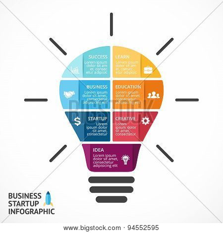 Vector light bulb infographic. Template for circle diagram, graph, presentation and round chart. Bus