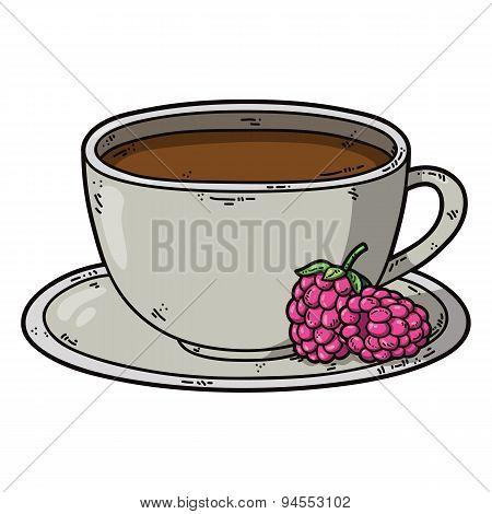 Tea cup raspberry