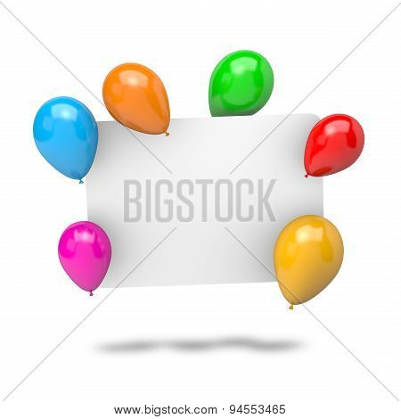 Blank Badge With Balloons