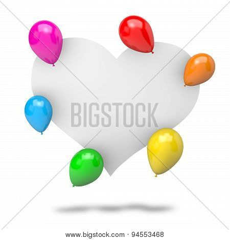 Blank Badge Heart Shape With Balloons