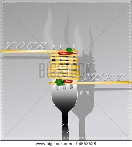 Delicious Spaghetti On A Fork. Vector Illustration.