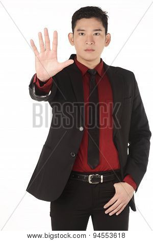 Asian Business Man Give Hand Gesture Stop