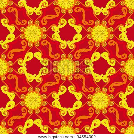 Seamless pattern. Decorative sun. Red background.