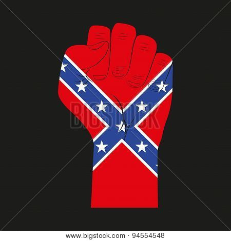 Symbol clenched fist held in protest with Confederate flag.