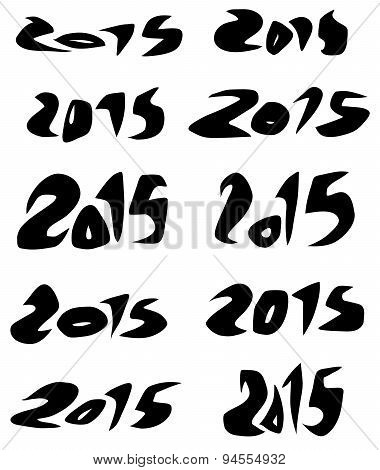 2015 Date In Black Organic Fluid Fonts Over White
