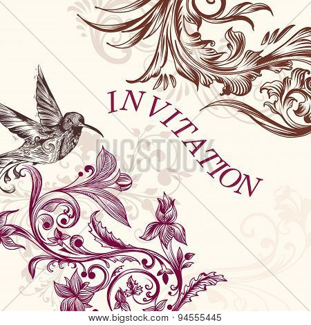 Wedding Invitation With Bird And Swirls