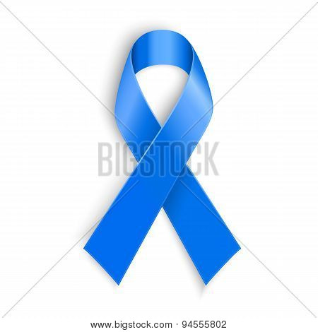 Blue Ribbon. Peace, Dysautonomia And Other Awareness Symbol.