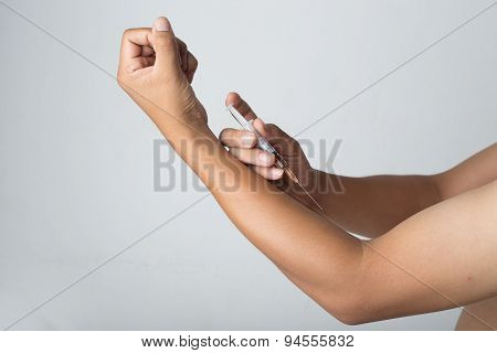 Man Injected Into The Arm